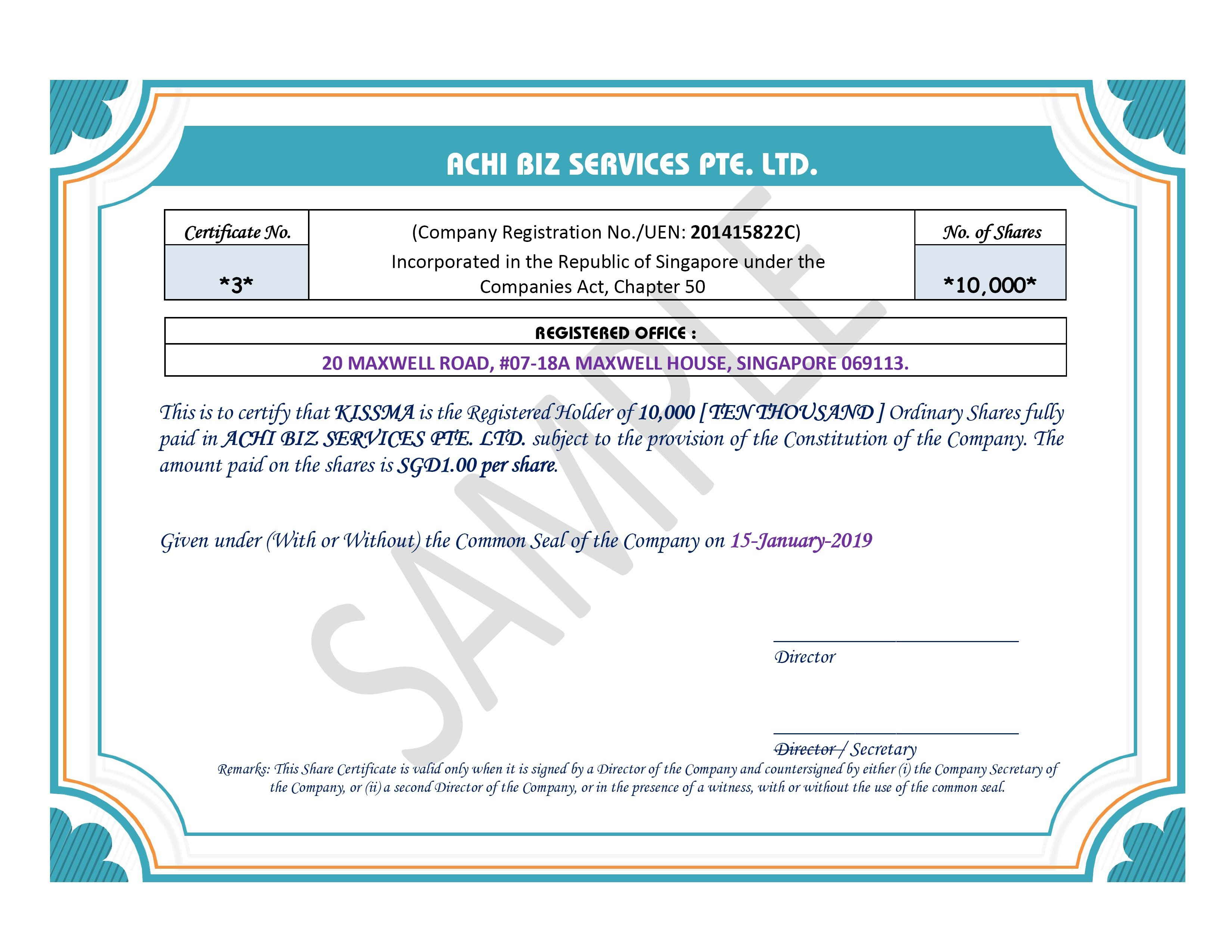 share certificate in singapore