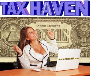 Cheerful Woman Pointing Tax Haven Offshore Corporate Services