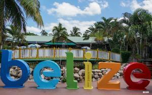 A sign board at Resort at Belize Island