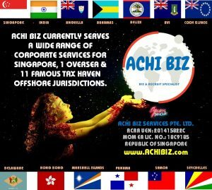 A girl holding Achi Biz logo with Singapore & 12 other national flags