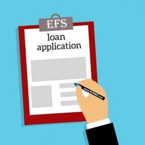 Loan application on a writing pad