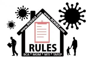 COVID-19 Rules Sign with employee & family